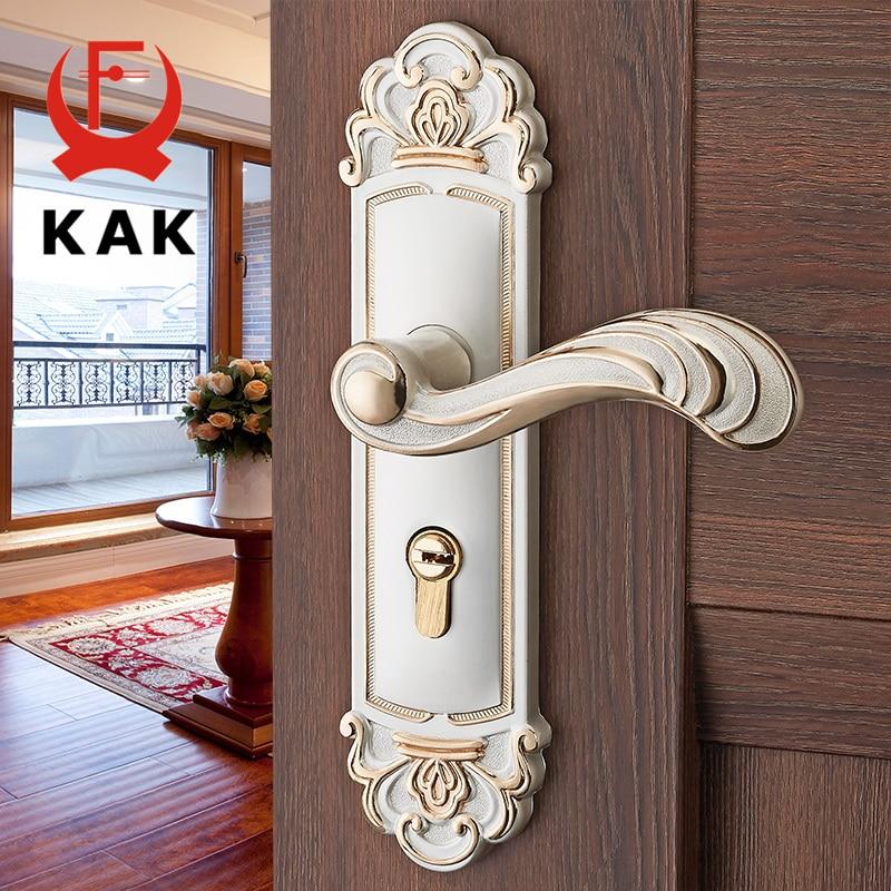 KAK Vintage Mute Room Door Lock Aluminum Alloy Interior Door Handle Lock European style Anti-theft Gate Lock Furniture Hardware