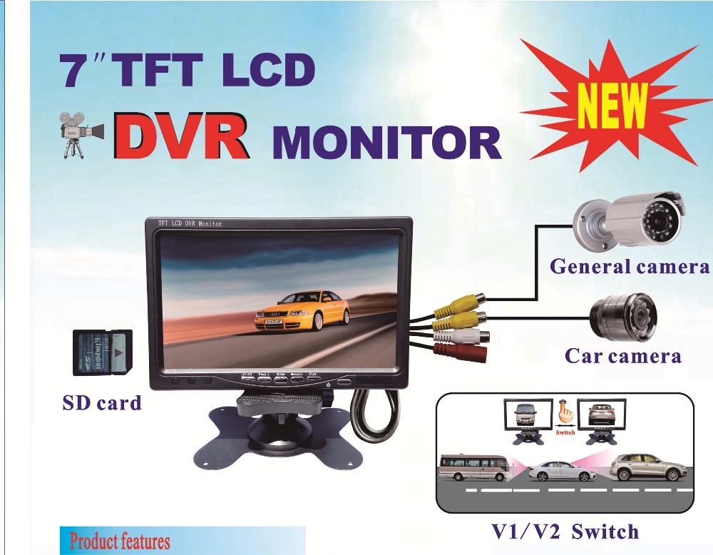 2 Channel 7inch TFT LCD DVR monitor record in SD card support 32GB SD card