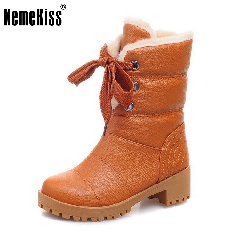 KemeKiss Women Half Short Boots Square Heels Winter Thicken Fur Warm Mid Calf Boot Bota Lace-up Gladiator Botas Shoes Size 34-43