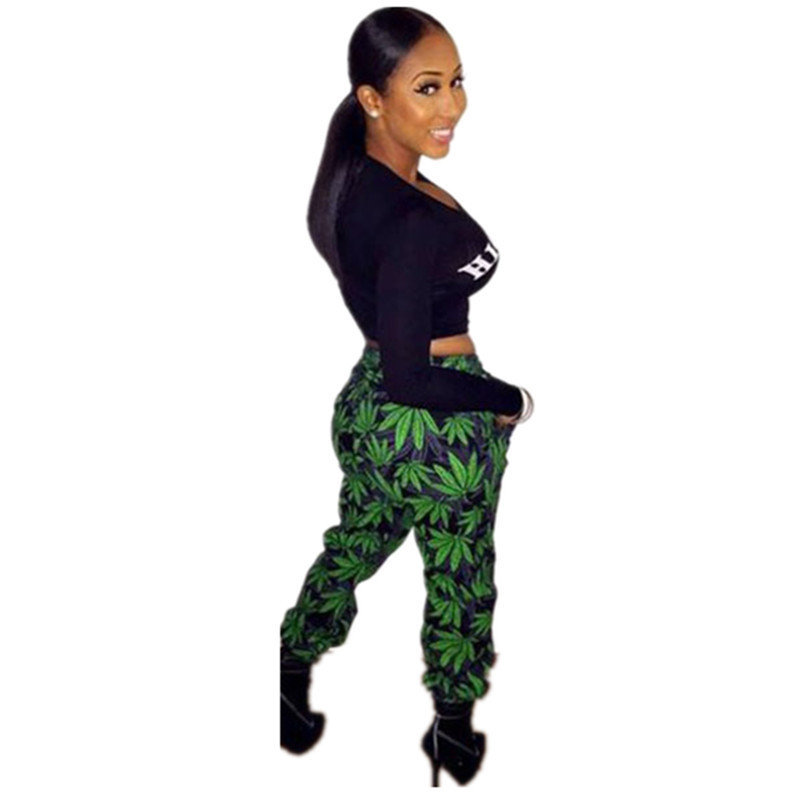 Ladies Casual Tracksuits High Life 2 Pc sWomens Sportswear Set Clothes Print Long Sleeve Crop Top And Pants LC6968 Black Friday