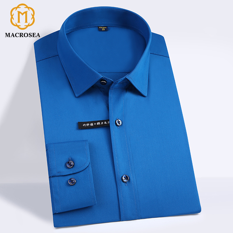 High Quality Classic Style Bamboo Fiber Men Dress Shirt Solid Color Men's Social Shirts Office Wear Easy Care(Regular Fit) 1
