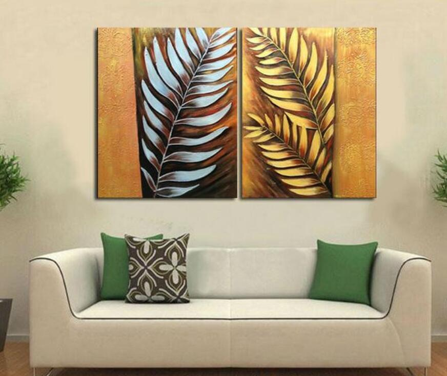 Handpainted 2 Pieces Canvas Art Abstract Metal Wall Silver Tree Leaf Oil  Painting Modern Home Decoration Painting In Painting U0026 Calligraphy From  Home ...