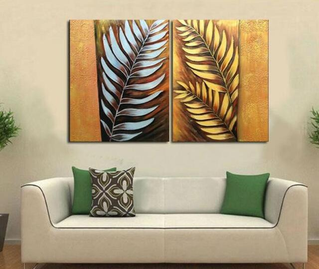 Handpainted 2 Pieces Canvas Art Abstract Metal Wall Silver Tree Leaf Oil Painting Modern Home Decoration