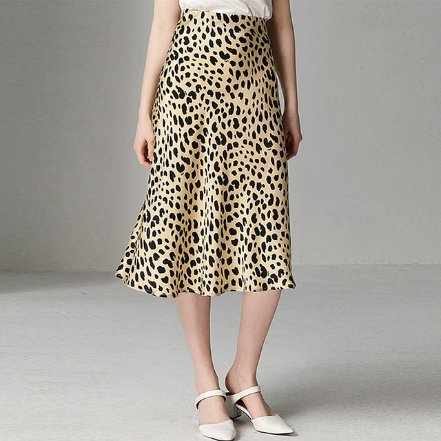 Skirts Women 100% Silk Leopard Printed Simple Design Elastic Waist Skirts High Quality Fabric Sexy Style 2019 New Fashion