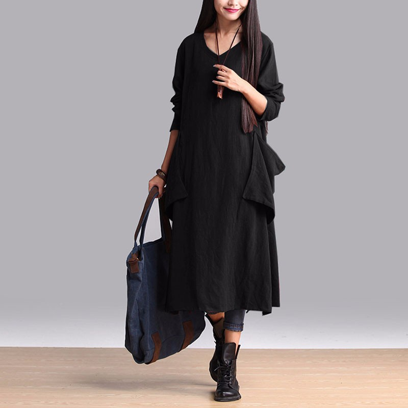 Mujeres vestido 2018 otoño vintage moda algodón Vestidos casual sexy manga larga V Masajeadores de cuello vestidos más tamaño