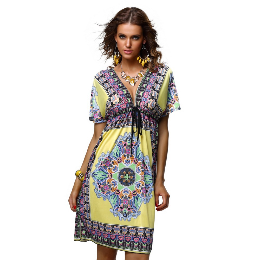 Fashion Retro 1960s 1970s Vintage Paisley Print V Neck Hippie Bohemian Summer Dress Women Beach