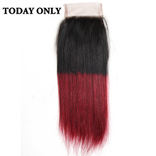 Today Only Non-remy Ombre Burgundy Brazilian Straight Hair Lace Closure 8″ to 20″ Two Tone 1b/99j Swiss Lace Human Hair Closure