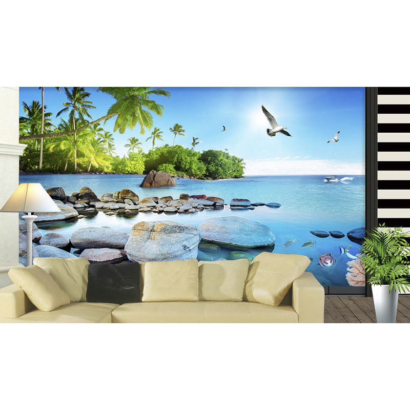 3D Custom Mural DIY Wallpaper For Walls Living Room TV Background Beautiful sea view Island Non-woven fabric Wall Papers 216 beautiful ocean