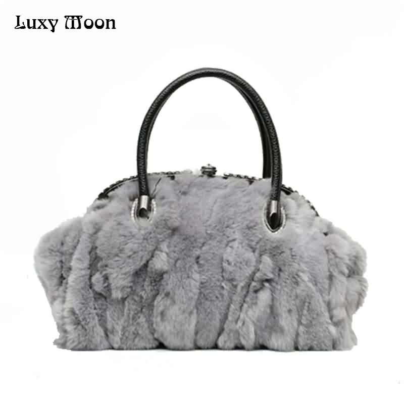 Luxy Moon Women Genuine Leather Bag Real Fur Portable Top Handle Fashion Shell Shape Women's Bag Shoulder Handbags Bolsos ZD854 luxy moon real genuine leather backpack for women sheepskin small mini mutifuction shoulder bag fashion women s bags zd724