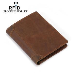 Image 3 - Genuine Cowhide Leather Money Clip Wallet Men RFID Blocking Purse Crazy Horse Leather Short Wallets Trifold Clutch for Man FM101