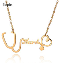 Eleple Creative Stethoscope Titanium Steel Necklaces Female Heart Fashion Clavicle Chain Celebration Necklace Jewelry S-N62