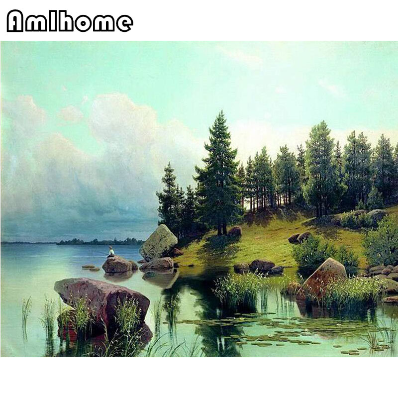 NEW 5D DIY Diamond Painting Cross Stitch Crystal Diamond Painting River Scenery Diamond Mosaic Needlework Home Decorative HF221