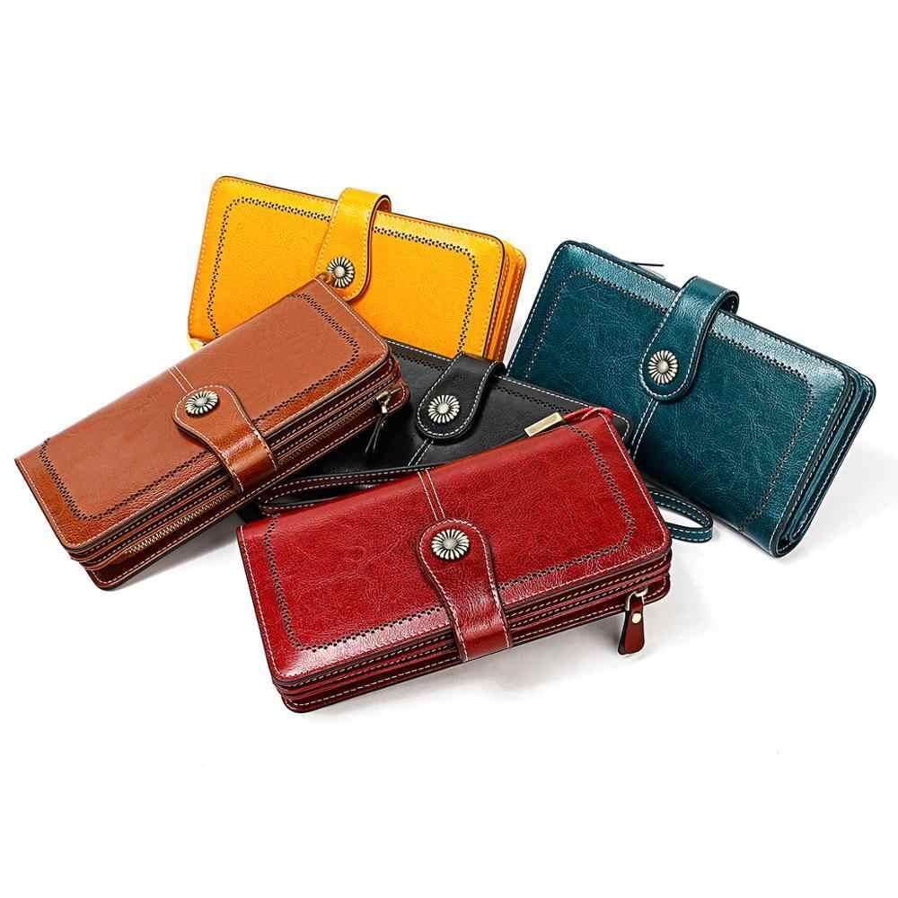 Винтажные женские кошельки из натуральной кожи, длинный женский кожаный кошелек с карманом на молнии для сотового телефона, Женский кошелек Carteira Feminina