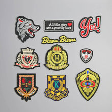 Wolves gold red Worm Embroidered Iron on Patches for Clothing Stripes Clothes Stickers Custom Badges patch eye pink boy(China)