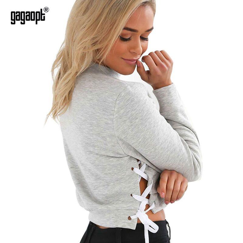 gagaopt бренд 2017 осень спортивный костюм 2 цвета с капюшоном женщин толстовка боковой крест с длинным рукавом розовый и серый короткие пуловеры sueter