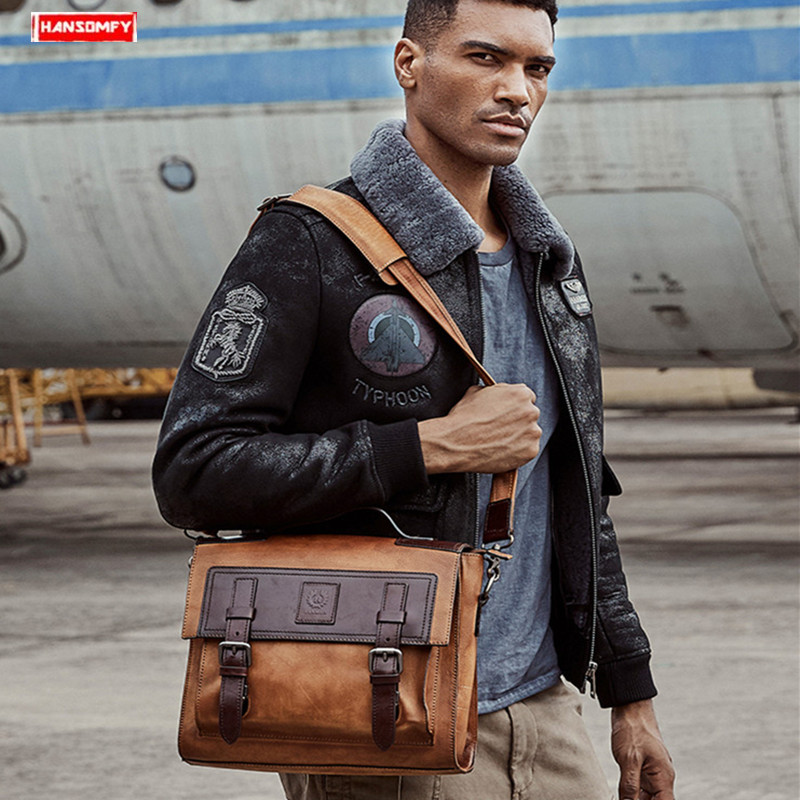 The first layer of cowhide leather men's handbag retro business  laptop briefcase genuine leather male shoulder messenger bag