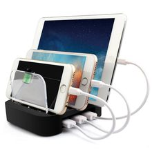 3 Port USB Charging Fast Charger Station Dock Stand Holder Hub Desktop Cable for iPhone 8 X 7 6 6s Plus 5V 2.4A handy desktop charging station w cable for htc m8 black