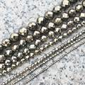 """Faceted 2,3,4,6,8,10,12mm Pyrite Round Loose Beads 15"""",For DIY Jewelry Making !We provide mixed wholesale for all items!"""