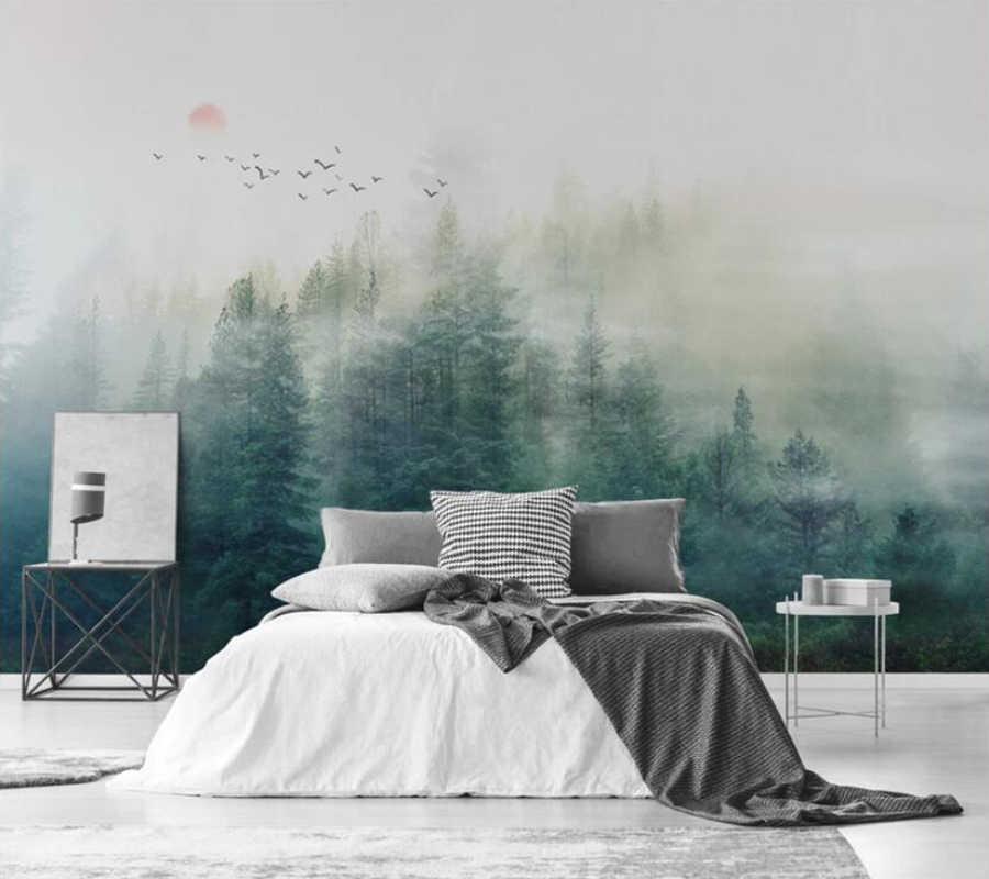 ورق حائط للزينة الضباب الصنوبر سحابة الجبل البعيدة لعبة الطائر المحلق حائط الخلفية ورقة جدارية