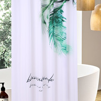 SunnyRain 1 Piece Green Leaf Shower Curtain Water Resistant Polyester Curtain for Bath 180x180CM Cortinas