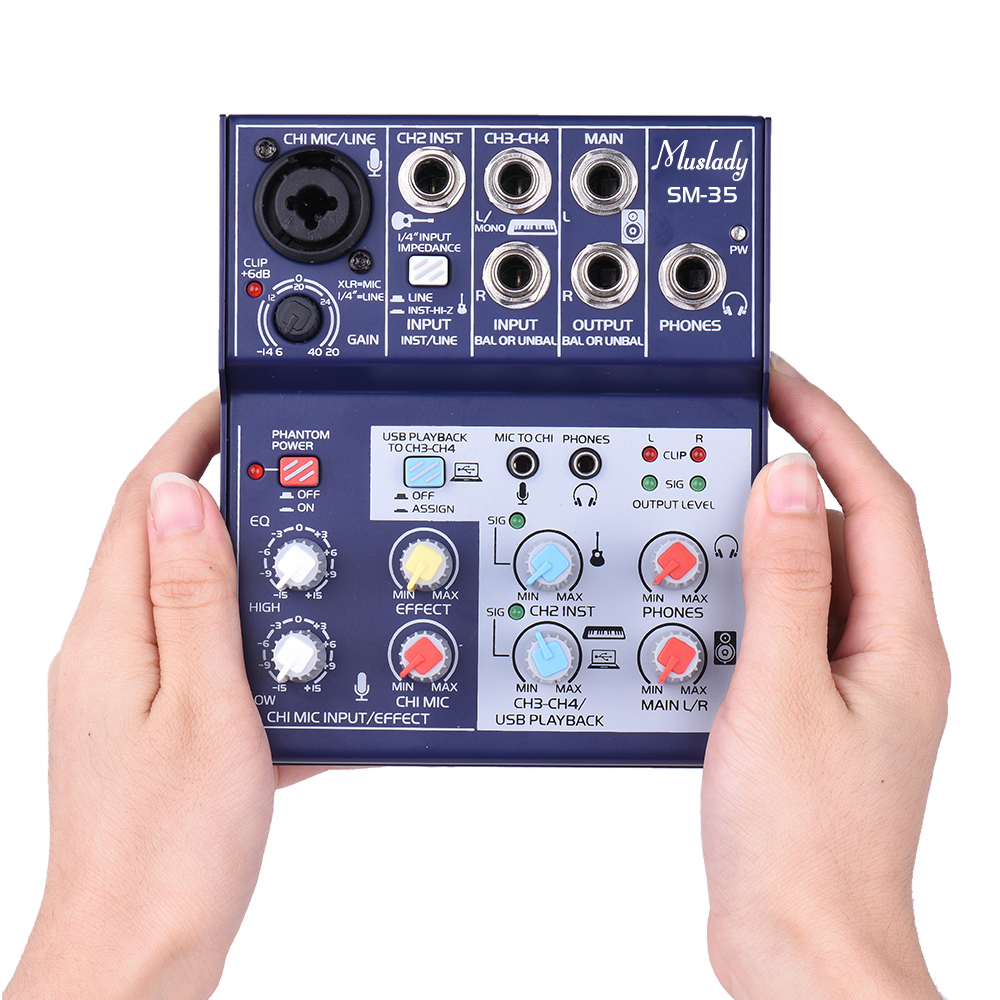buy sm 35 4 channel mixing console digital audio mixer supports 5v power bank. Black Bedroom Furniture Sets. Home Design Ideas