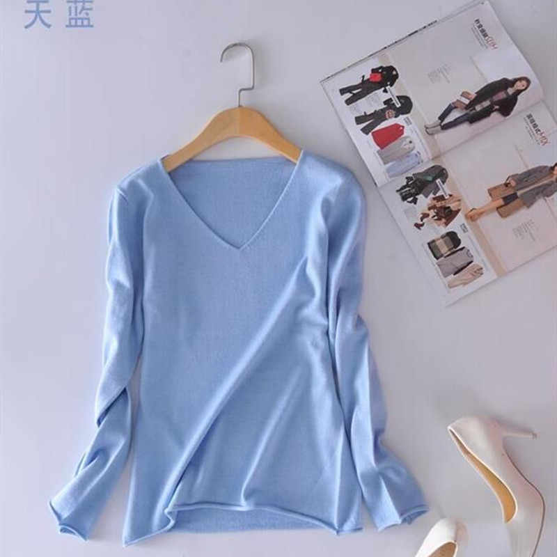 BARESKIY cashmere sweater women's spring new fashion V-neck casual sweater short paragraph bottoming knit pullover sweater