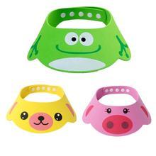 все цены на Baby Shower Caps Shampoo Cap Adjustable Cartoon Animal Baby Bath Shower Shampoo Visor Kids Hair Washing Eye Shield Cap Hats онлайн