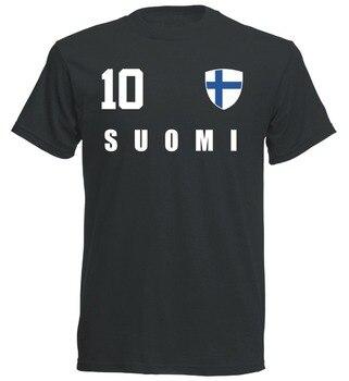 Finlandia Damen camiseta Schwarz Trikot equipo Nr 10 Fubball Sporter 2019 futbolista fútboles 2019 nuevo 100% de algodón de calidad superior