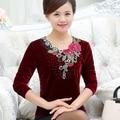 Nueva moda de las mujeres de mediana edad otoño primavera de manga larga camiseta femenina floja básica del o-cuello camisa de terciopelo de oro madre clothing top