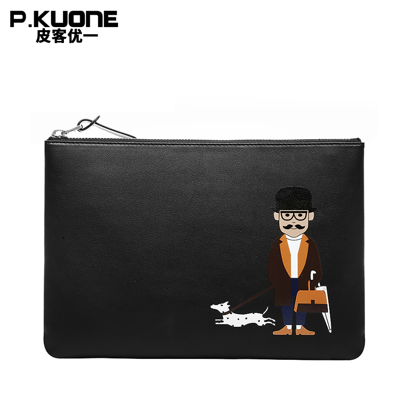 P.KUONE Brand Hand painted Original Leather Men Clutch Bags Cow Leather Wallet Male Simple Design Wallet Men's Envelope Bag