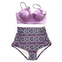 2018 New Bikinis Women Swimsuit High Waist Bathing Suit Plus Size Swimwear Push Up Bikini Set