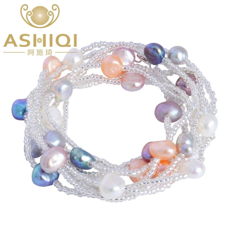 ASHIQI Baroque Mutiara Air Tawar Alami Gelang & Gelang Untuk Wanita - Perhiasan bagus - Foto 5