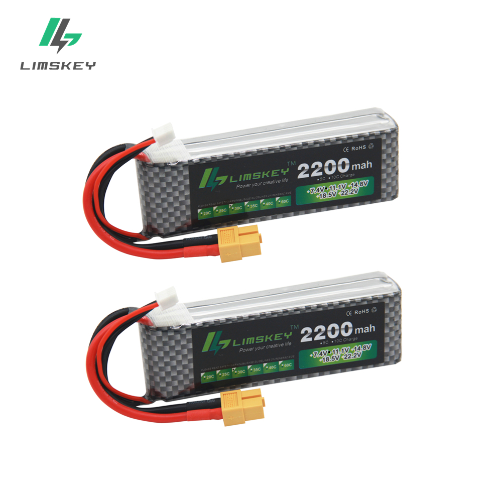 Limskey Power Brand New Lipo Battery 11.1V 2200 mAh 30C MAX 60C 3S T Plug for RC Car Airplane T-REX 450 Helicopter Part 2PCS/LOT(China)