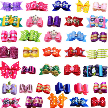 120PCS Mix Designs Pet Dog Bows with Rhinestone Crown Pearl Pet Dogs Bows Bowknot  Dog Hair Bows Grooming Accessories Product 1