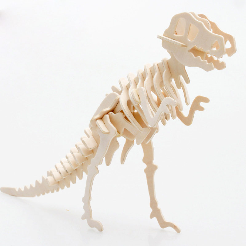 New Tyrannosaurus Stereo Dinosaur Jigsaw Puzzle 3D Wooden Toys 3D Puzzle Jigsaw Kit Model Hobbies DIY Toys Houten Speelgoed JSX