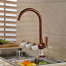 Modern Rose Gold Single Handle Deck Mount Kitchen Sink Faucet Hot and Cold Kitchen Mixer Tap