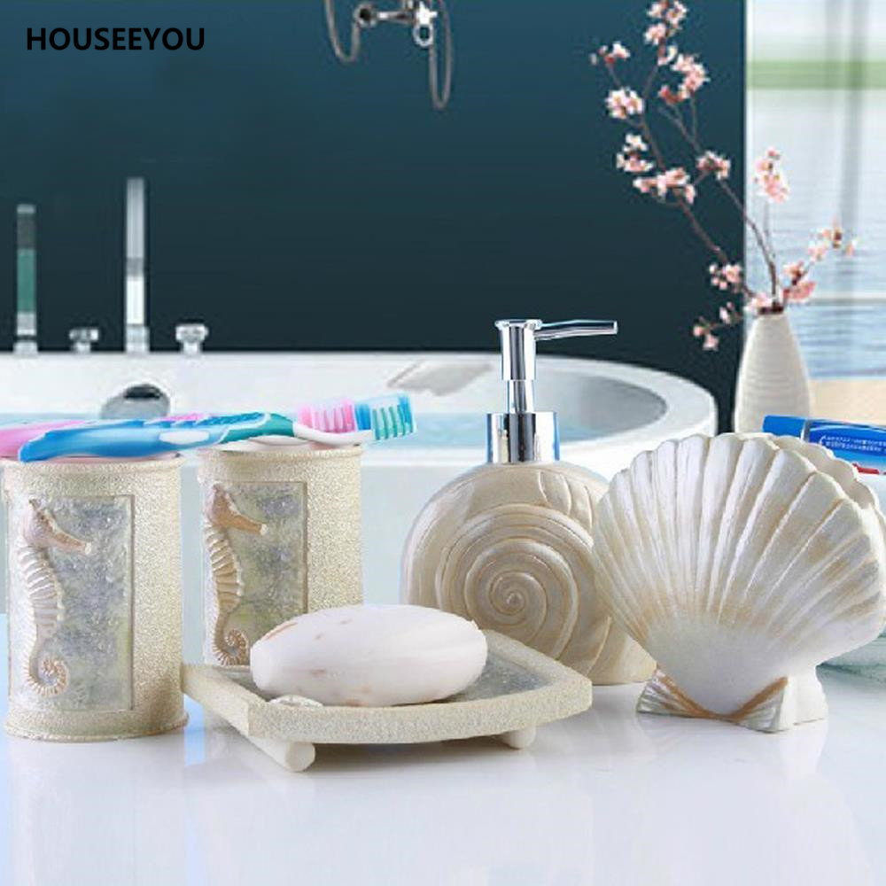 New DIY Sea Shell Style Bathroom Accessories Set Toothbrush Holder Cup  Lotion Dispenser Soap Dish Bath Suite Supplies 5Pcs/set In Bathroom  Accessories Sets ...