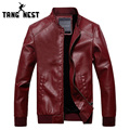 TANGNEST New Arrival 2016 Autumn & Winter Fashion Men's PU Leather Jacket With Fur Inside Solid Warm Windbreaker Jacket MWP253