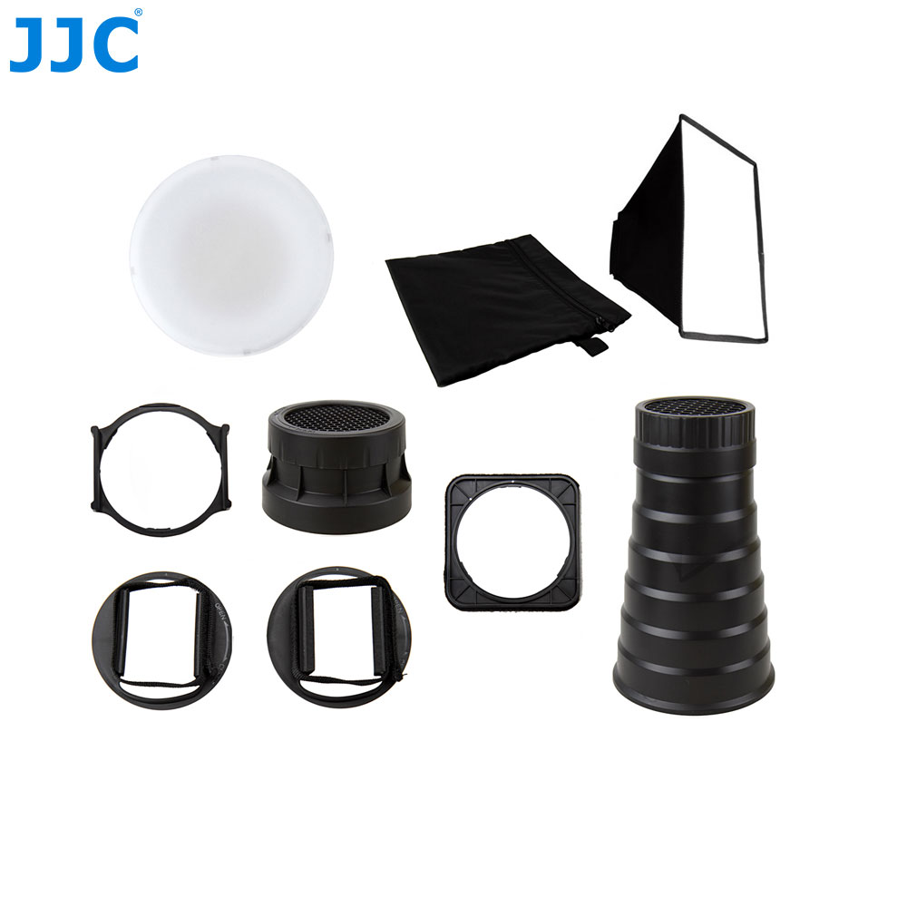 JJC Universal Speedlight Accessory Diffuser Adapter Softbox Honeycomb Grids Mount Flash Kit for Canon EX RT