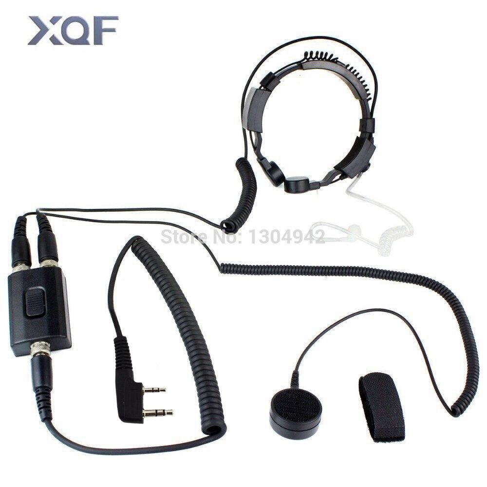 Casque d'écouteur de Tube acoustique caché de Microphone de gorge de FBI de Police militaire professionnelle 2pin pour la Radio de KENWOOD baofeng BF UV-5R