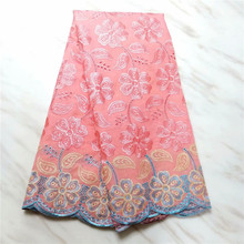 Pink Swiss Voile Cotton Lace Fabric 2019 African Swiss Voile stones Laces In Switzerland High Quality Swiss Dry Laces For Dress