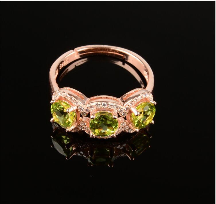 Péridot anneau 5mm gem * 3 femmes anneaux péridot naturel bague 925 en argent sterling gros bijoux fins pierre précieuse