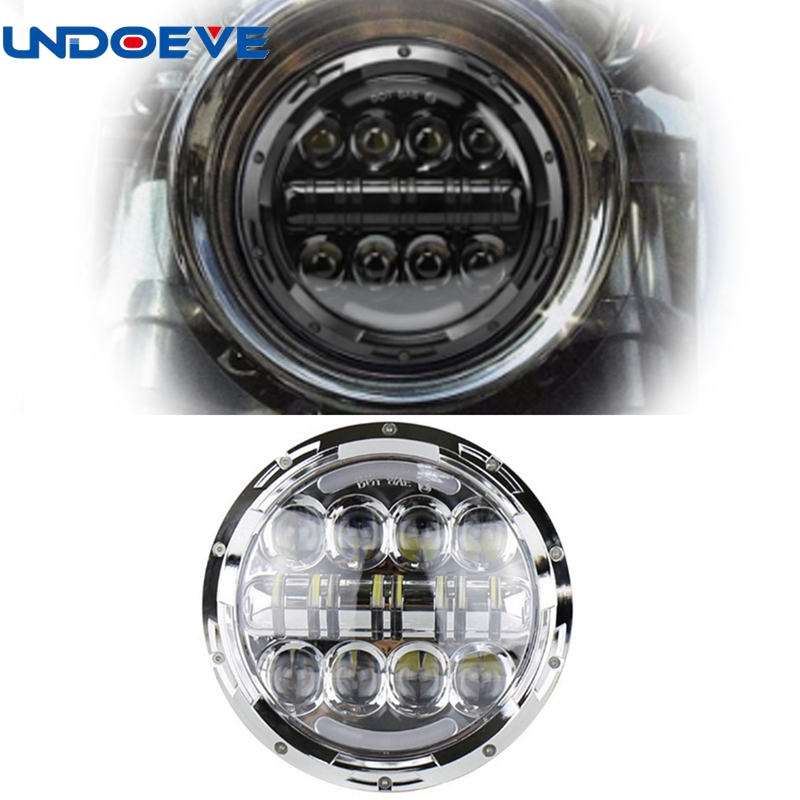7 80W Motorcycle LED Headlight Angle Eyes with Amber Signal Halo DRL Halo for Harley Softail Deluxe Fat Boy FLSTF 7 motorcycle headlight lenses for harley touring softail fat boy the headlight lenses headlight glass