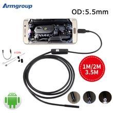 Endoscope 5.5mm Mini USB Android Endoscopio Camera OTG Inspection USB Borescope 1M 2M 3.5M Android Phone PC Waterproof Camera