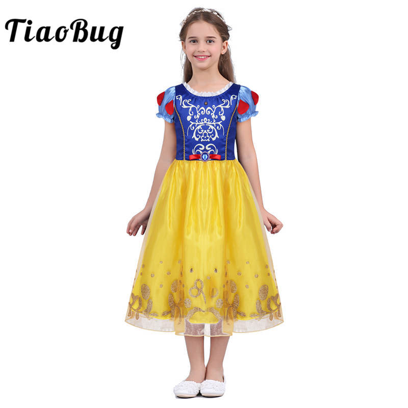 TiaoBug Kids Girls Short Puff Sleeve Fairy Tale Princess Children Cute Halloween Cosplay Costume Party Fancy Role Play Dress