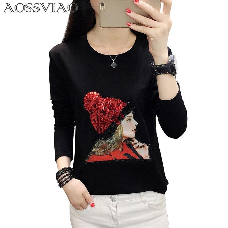 Grande taille t-shirt haut pour femme décontracté coton automne et hiver t-shirt femme lâche t-shirt femmes t-shirt o-cou haut femme