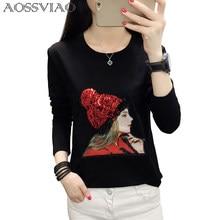 T-shirt grande taille coton à col rond pour femme, ample, collection automne-hiver haut pour femme, décontracté