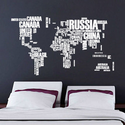3D Colored/Black/White letters combination world map Wall Stickers Kids room Home Decor office Art Decals Pvc sticker Wallpaper