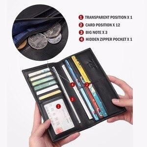 Image 4 - BISON DENIM cartera de cuero genuino para hombre, billetera larga ajustada de negocios, de cuero de vaca, bolso de mano, para tarjetas de identificación, N4391