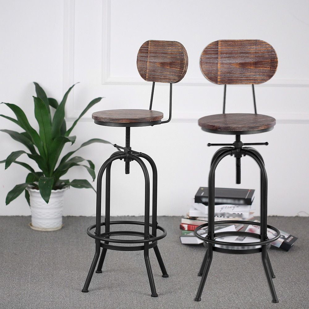 iKayaa Industrial Style Bar Stool Height Adjustable Swivel Kitchen Dining Chair Pinewood Top+ Metal With Backrest Bar Stools